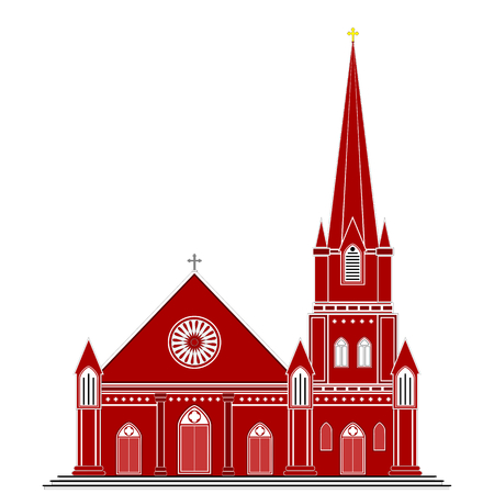 place of worship: Illustration of an ancient gothic style Christian church with a tower  Shades of maroon, red and brown are used  The image is isolated on white  Illustration
