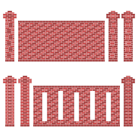 brick and mortar: Illustration of a few patterns of brick walls and its columns pillars  The bricks are shades of maroon, red and brown  The image is isolated on white
