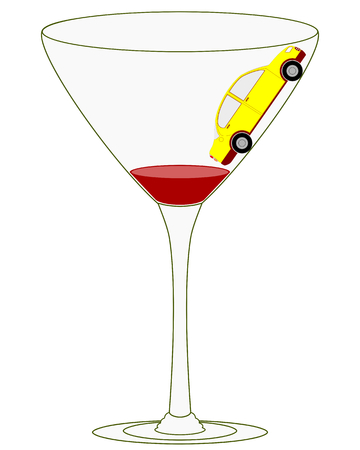 safely: Illustration of message for campaign against drunk driving  Attempting to drive up the steep wine glass sides reinforces the message that it is impossible to drive safely while drunk  Illustration