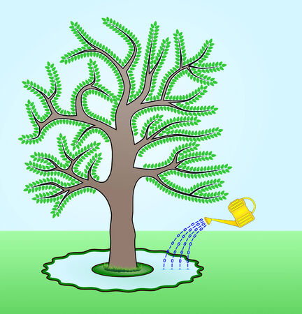 zeroes: Raster illustration of a Go Green concept where a tree is watered by electronic documents symbolized by binary zeroes and ones  Message is to save trees by using electronic documents instead of paper