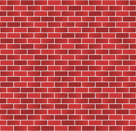 brick and mortar: Red brick wall pattern on white mortar background  Stock Photo
