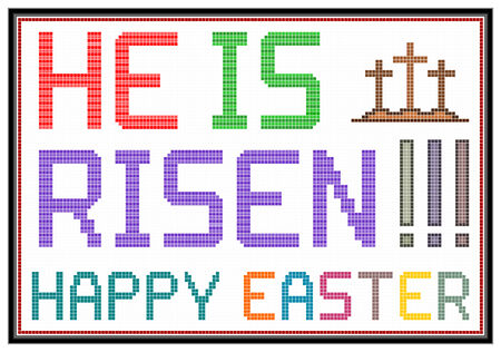 christ is risen easter: Happy Easter message on vintage LCD screen  Isolated on white  Stock Photo