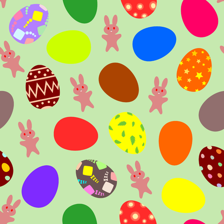 Easter theme on green background with bunnies and multi color easter eggs  Vector