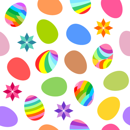 Easter theme on white background with flowers and multi color easter eggs  Vector