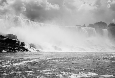 The American falls and the Bridal Veil falls of the Niagara falls taken from a boat  photo