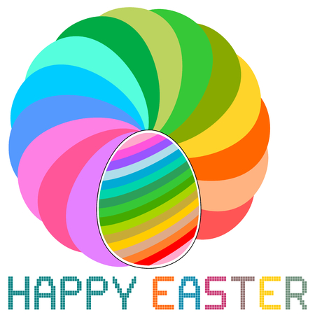 Swirling colorful easter eggs with retro pixel message  Isolated on white  Vector