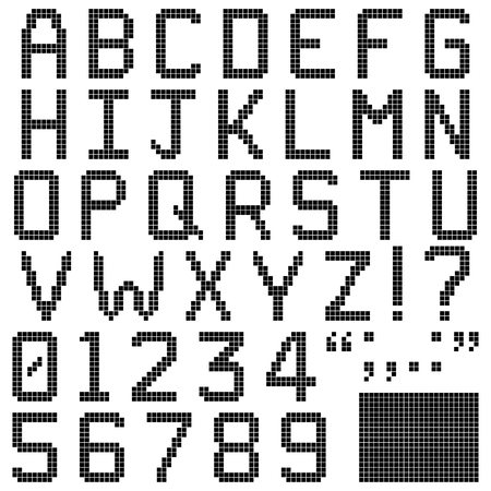 Alphabets, numerals and punctuation characters in retro square pixel font  Isolated and contains spare pixels  Vector