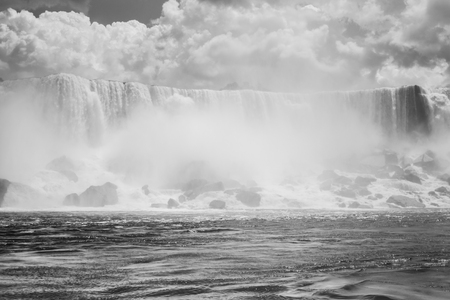 The American falls of the Niagara falls taken from a boat  photo
