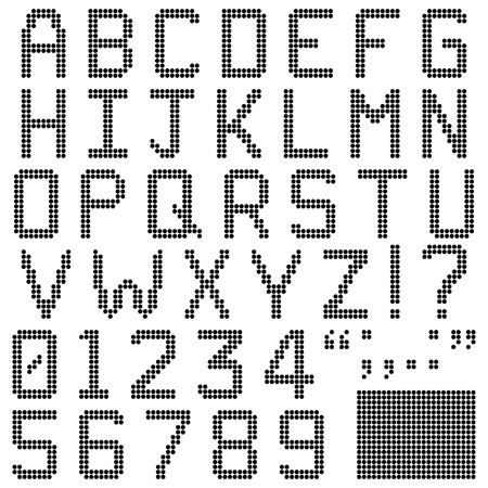 numerals: Alphabets, numerals and punctuation characters in retro round pixel font  Isolated and contains spare pixels