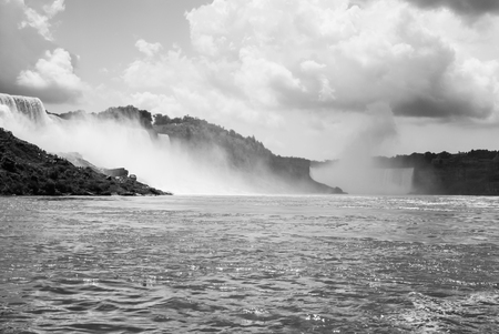 The Niagara falls and the Horseshoe falls taken from a boat  photo