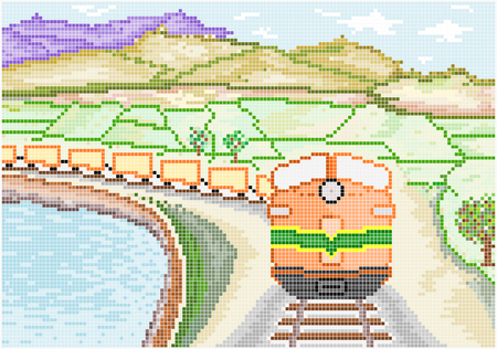 boxcar: An illustration of a vintage diesel train running through the green countryside of mountains and lakes  Square pixels of various colors have been used