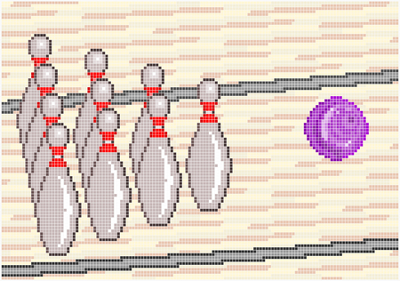 ten pin bowling: Illustration of the game of Ten pin Bowling with a bowling ball rolling down the lane to strike the pins  Square pixels of various colors have been used