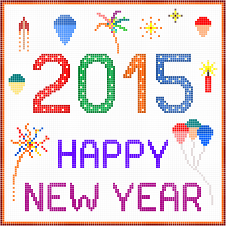 An illustration of 2015 New Year message with balloons and fireworks  Square pixels of various colors have been used  Vector