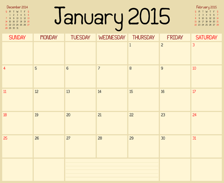 A monthly planner calendar for January 2015 Vector