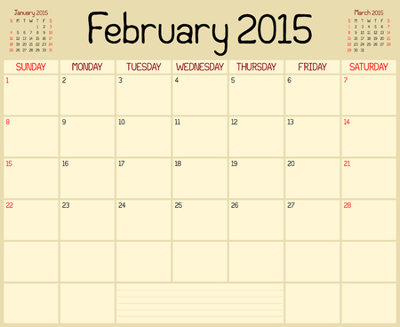 A monthly planner calendar for February 2015. A custom handwritten style is used. Vector