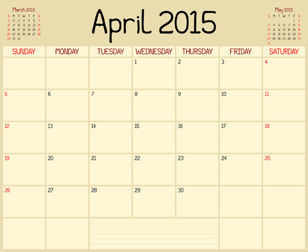 A monthly planner calendar for April 2015. A custom handwritten style is used. Vector
