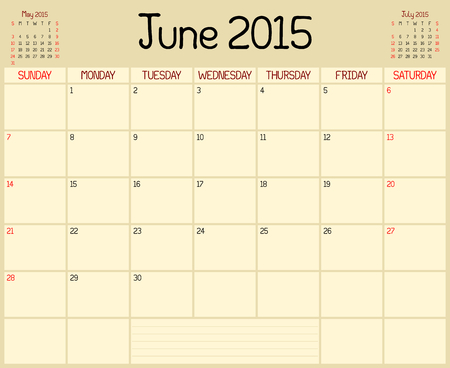 A monthly planner calendar for June 2015. A custom handwritten style is used. Vector