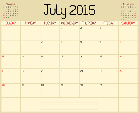 A monthly planner calendar for July 2015. A custom handwritten style is used. Vector