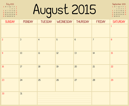 A monthly planner calendar for August 2015. A custom handwritten style is used. Vector
