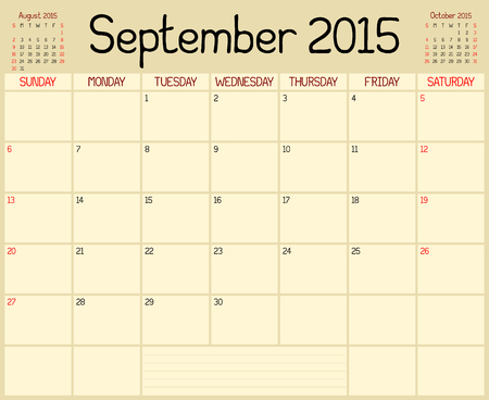 A monthly planner calendar for September 2015. A custom handwritten style is used. Vector