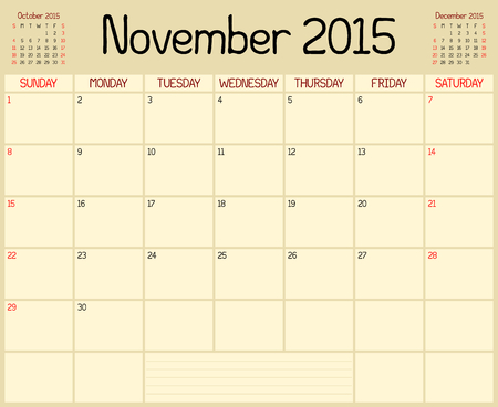 next day: A monthly planner calendar for November 2015. A custom handwritten style is used.