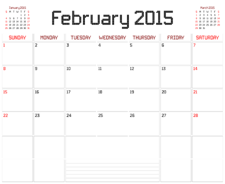 A monthly planner calendar for February 2015 on white. A square pixel style is used. Vector