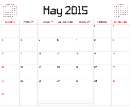 A monthly planner calendar for May 2015 on white. A square pixel style is used. Vector