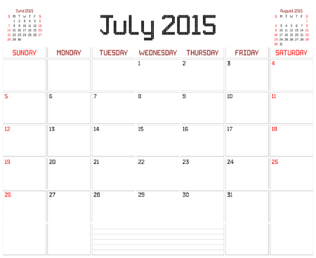 A monthly planner calendar for July 2015 on white. A square pixel style is used. Vector
