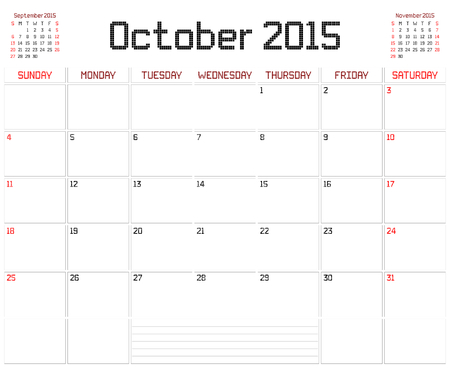 A monthly planner calendar for October 2015 on white. A square pixel style is used. Vector