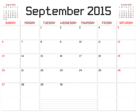 A monthly planner calendar for September 2015 on white. A square pixel style is used. Vector