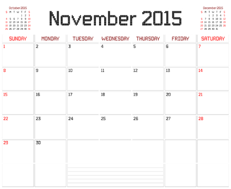 A monthly planner calendar for November 2015 on white. A square pixel style is used. Vector