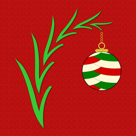 red pebble: An illustration of a multicolored Christmas ornament hung on a tree branch on a red pebble background with space for a Christmas message.