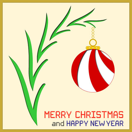 branch cut: An illustration of a red and white Christmas ornament on a tree branch with cut paper effect. Square pixel Christmas and New Year messages.
