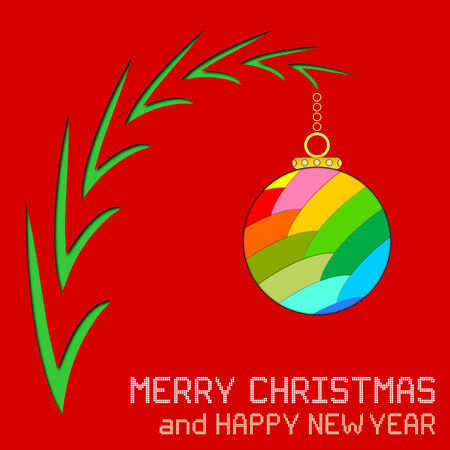 branch cut: An illustration of a multicolored Christmas ornament hung on a tree branch with cut paper effect. Round pixel Christmas and New Year messages.