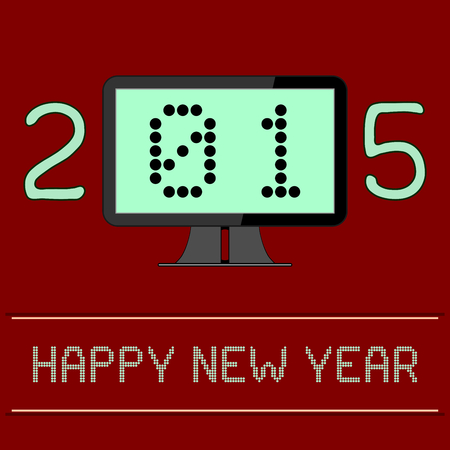 new age: An illustration of the New Year 2015 as a digital age year. The zero and one of the year 2015 are shown as binary numbers displayed on a computer screen.