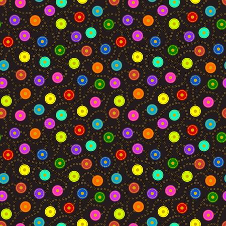 discs: Bright multicolored discs connected together in a seamless pattern by gold colored rings on dark background.