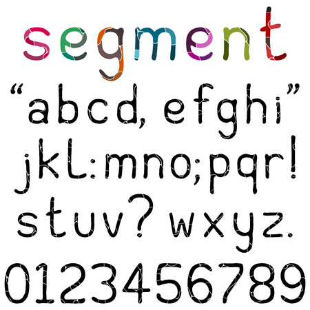 lower case: Lower case alphabets, numerals and punctuation characters in a handwritten font with segments. Isolated on white.