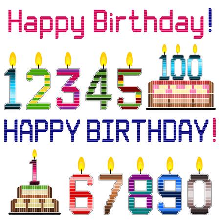 number candles: Feliz cumplea�os - saludo de cumplea�os felices elementos del dise�o del tema como velas de n�meros, pasteles y saludos. Vectores