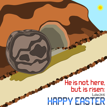 has: Happy Easter - Happy Easter empty tomb illustration with Bible verse on white background. Illustration