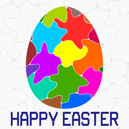 irregular shapes: Happy Easter - Happy Easter greeting with multi colored easter egg. Irregular shapes background.