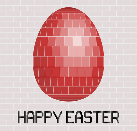 brick and mortar: Happy Easter greeting with a red tiled egg on a brick wall background. Illustration
