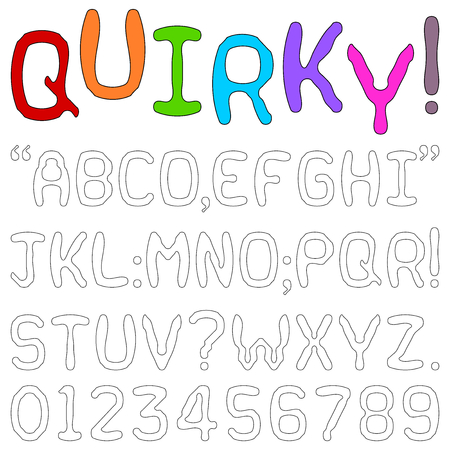 character traits: Quirky Font - Upper case alphabets, numerals and punctuation characters in a quirky fun font isolated on white. Illustration