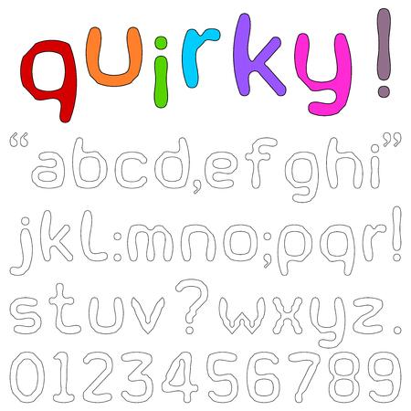letras negras: Peculiar Fuentes - alfabetos minúsculas, números y signos de puntuación en una fuente de la diversión peculiar aislado en blanco.