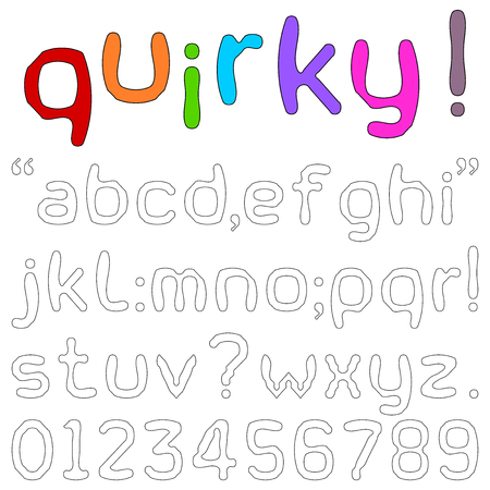 white letters: Quirky Font - Lower case alphabets, numerals and punctuation characters in a quirky fun font isolated on white. Illustration