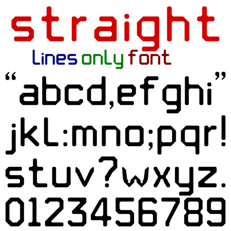 lower case: Straight Lines Font  Lower case alphabets numerals and punctuation characters in chunky black retro font using straight lines only. No curved lines or corners.