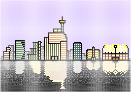 waterfront: Typical City Skyline at Night  An illustration of an illuminated skyline of a typical modern city situated next to a waterfront. Square pixels of various colors have been used. Illustration