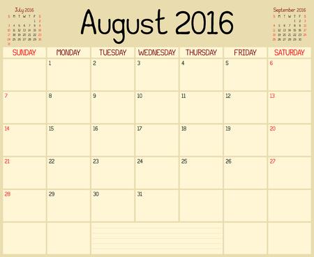 Année 2016 Août Planner - Un calendrier de planification mensuelle pour Août 2016. Un style manuscrit personnalisé est utilisé.