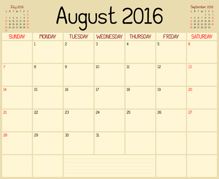 Year 2016 August Planner - A monthly planner calendar for August 2016. A custom handwritten style is used. Illustration