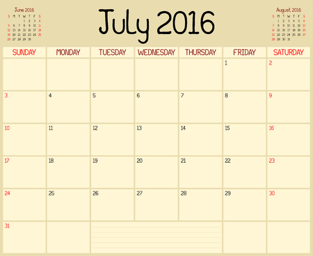 event planner: Year 2016 July Planner - A monthly planner calendar for July 2016. A custom handwritten style is used.