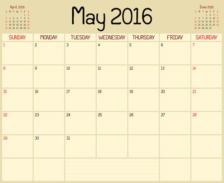 2016 May Planner - Eine monatliche Planer Kalender für Mai 2016. Ein kundenspezifisches handschriftlichen Stil verwendet wird.